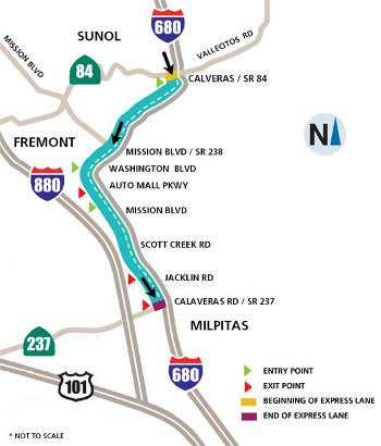 I-680 HOT Lane Map