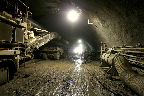 Fourth bore of Caldecott Tunnel under construction.