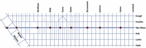 Van Ness BRT proposed stations.