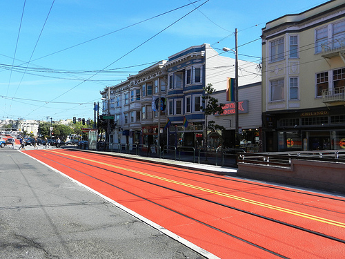 Near Church & Market, looking north toward Duboce Avenue. Click image for full-size photo on Flickr.