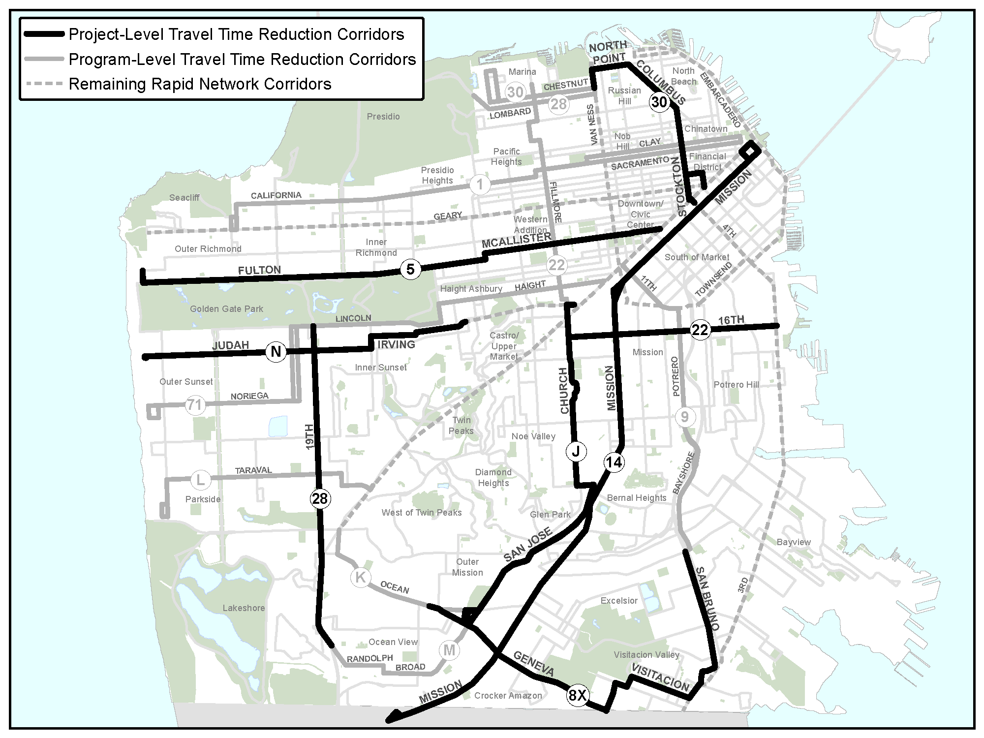 Transit Lanes For Church Street Transbay Blog - Map san francisco bus routes