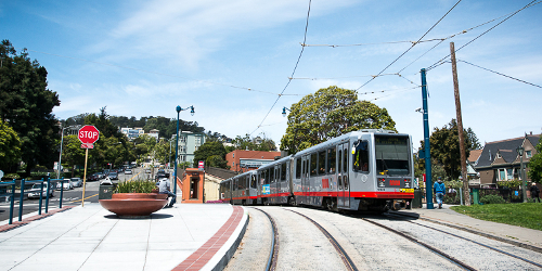 N-Judah LRV at the improved Duboce Park stop. Courtesy of SFMTA.